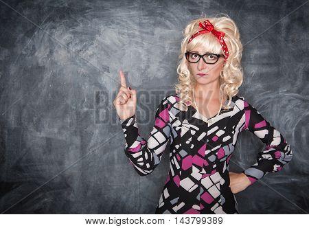 Serious Retro Teacher In Glasses