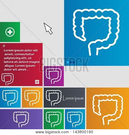 Large Intestine Icon Sign. Buttons. Modern Interface Website Buttons With Cursor Pointer. Vector