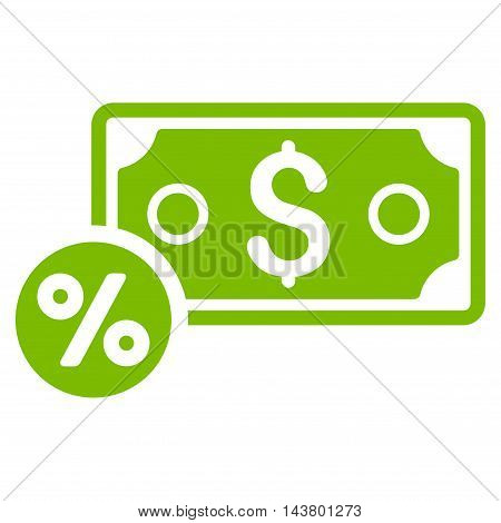 Banknote Percent icon. Vector style is flat iconic symbol with rounded angles, eco green color, white background.