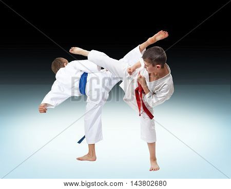 Roundhouse kick the boys are beating in karate