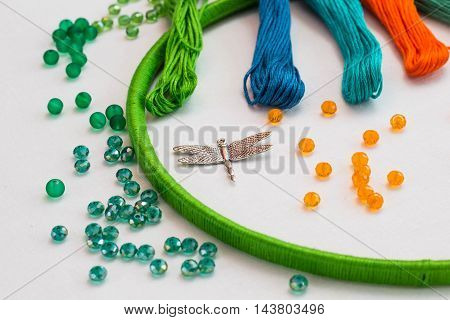 set for making a Dreamcatcher beads thread on a white background