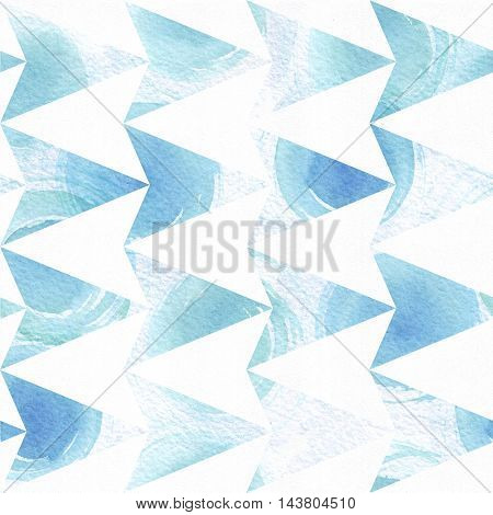 Blue colorful seamless illustration with geometric pattern based on triangle arrow texture and watercolor hand drawn brush daub. Grainy large square illustration good for decoration and background.