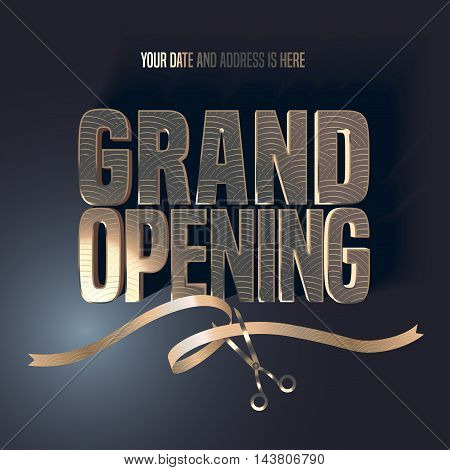 Grand opening vector illustration, background with golden lettering sign and scissors cutting ribbon. Template banner, flyer, design element, decoration for opening ceremony