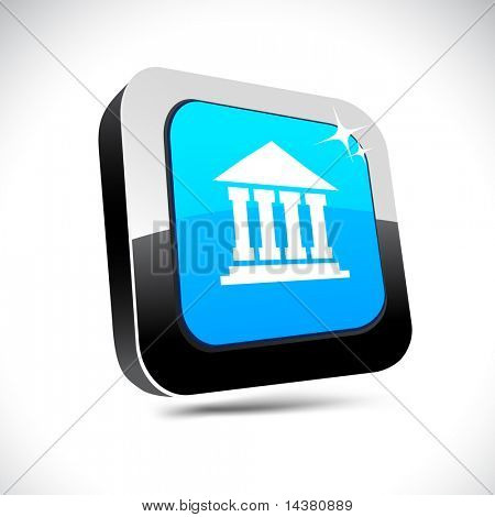 Exchange metallic 3d vibrant square icon.