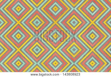 Geometrical Pattern In Yellow, Seafoam, Salmon And Grey Colors.