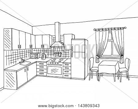 Kitchen room interior black white graphic art sketch illustration vector