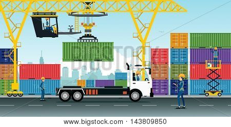 Container Cranes have delivery trucks and containers at the warehouse.