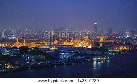 Buiding landmark Grand Palace at twilight Bangkok Thailand