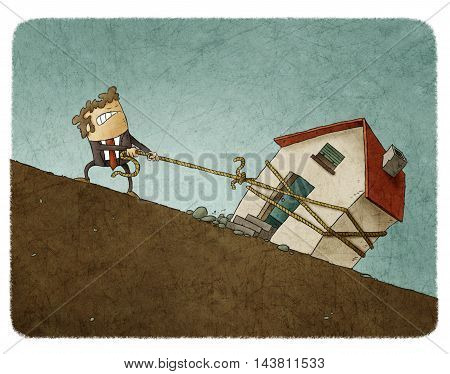 Illustration of struggling businessman in suit pulling up the rope with house along the