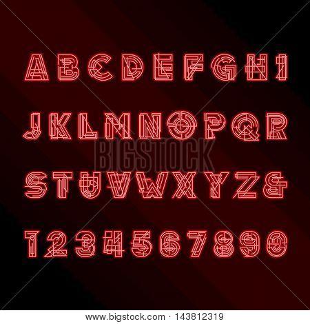Decorative geometric alphabet font. Glowing type letters and numbers. Vector typeface for headlines, posters etc.