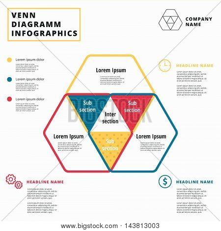 Venn diagram vector circles. Infographics template design. Overlapping shapes for set or logic graphic illustration.