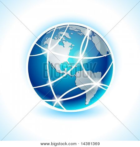 Blue high-detailed communication earth. Vector. poster