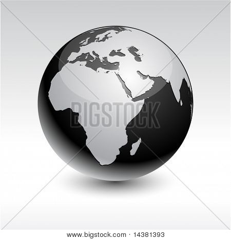 Black high-detailed earth ball. Vector. poster