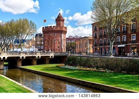 View to the Canal and Castle of Perpignan in springtime. Pyrenees-Orientales, France