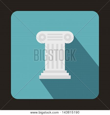 Ancient Ionic pillar icon in flat style on a baby blue background