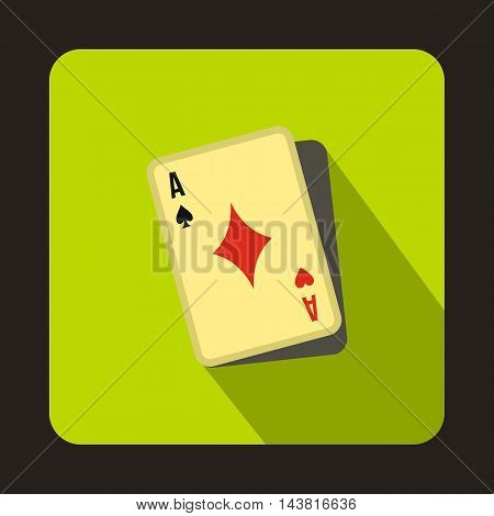 Cheating at play icon in flat style on a green background