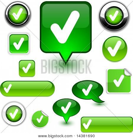 Check vector glossy icons.