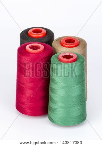 Group Of Sewing Threads On White