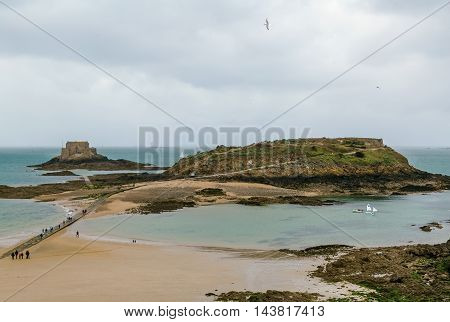 view of Petit Be fort and Grand Be island from Saint-Malo walls France