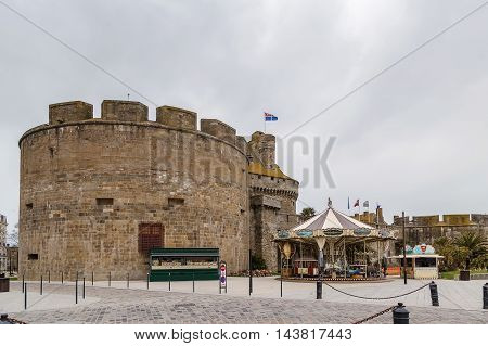 the walls and tower surrounding Saint-Malo city France
