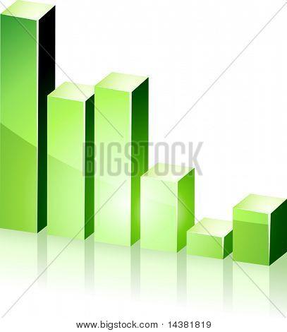 Vector bright 3d green  graph.