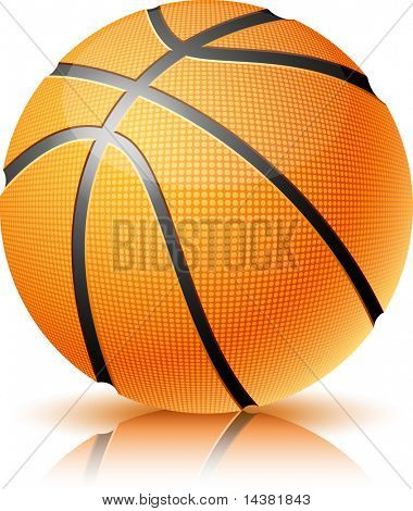 Ilustración de vector de pelota de baloncesto realista.