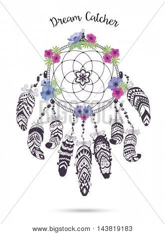 Native American Indian Talisman Dream catcher with Feathers and Flowers.  Ethnic Design, Boho Style. Dream Catcher isolated on white Background.