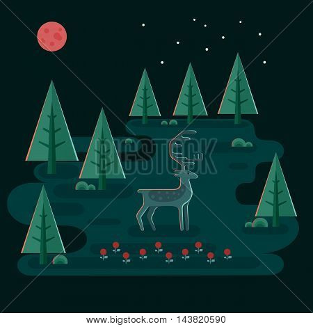 Deer in night forest. Wildlife scene. Horned animal and trees under moon and stars. Idyllic flat style landscape. Vector illustration.