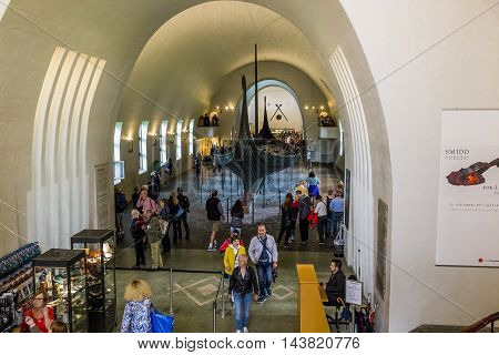 OSLO, NORWAY - JULY 1, 2016: This is hall of the Viking Ship Museum with exposed there a real funeral Drakkar Vikings.