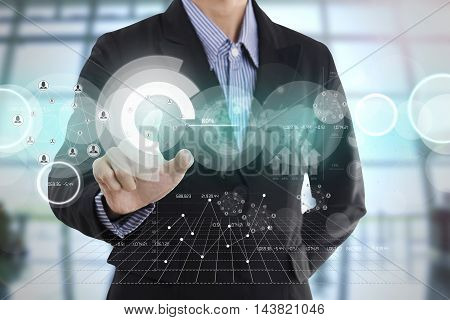 businessman hand with drawing a graph chart and business strategy for business finance and banking concept on whiteboard