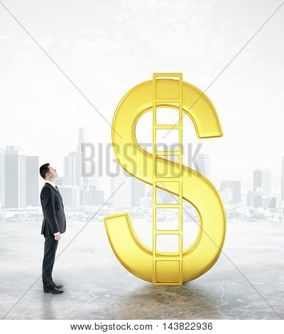 Financial growth concept with businessman looking at abstract golden dollar sign with ladder on city background. 3D Rendering