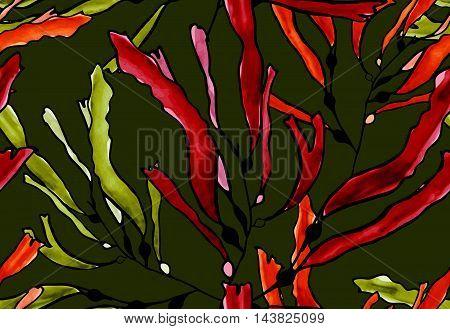 Kelp Seaweed Brown Watercolor On Green