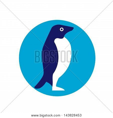Illustration of an Adelie penguin or Pygoscelis adeliae a species of penguin common along the entire Antarctic coast viewed from the side set inside circle done in retro style.