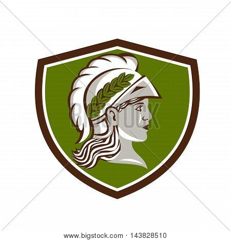 Illustration of Minerva or Menrva the Roman goddess of wisdom and sponsor of arts trade and strategy wearing helment and laurel crown viewed from side set inside shield crest done in retro style.
