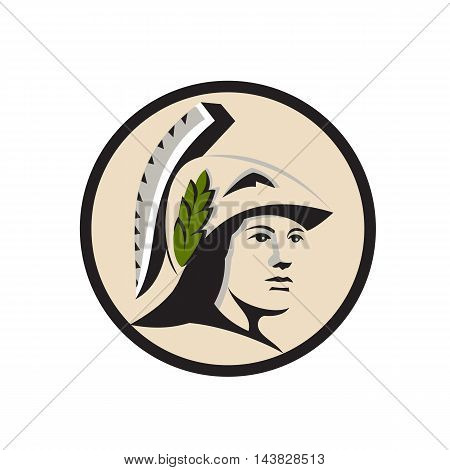 Illustration of Minerva or Menrva the Roman goddess of wisdom and sponsor of arts trade and strategy wearing helment and laurel crown looking to the side viewed from front set inside circle done in retro style.