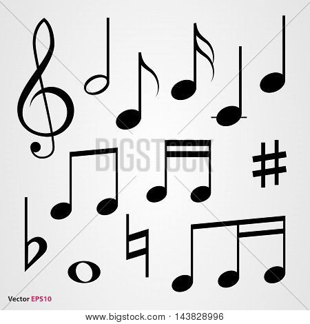 Set of musical symbols, black on gray background