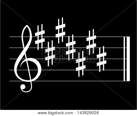 Sharp key signature symbols on black background