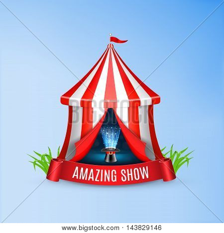 Conjurer hat with magical glow inside circus tent. Circus concept. Vector background. EPS10 vector