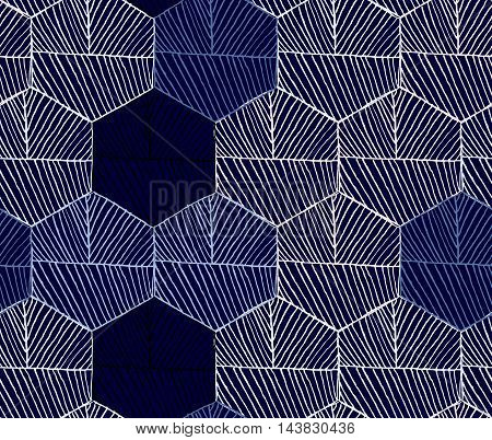 Hatched Hexagons Colored Blue