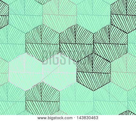 Hatched Hexagons Colored Green