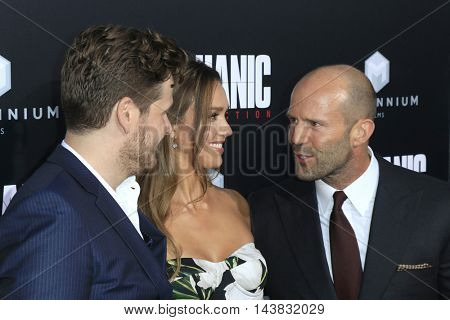 LOS ANGELES - AUG 22:  Dennis Gansel, Jessica Alba, Jason Statham at the