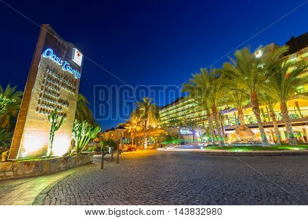 TAURITO, GRAN CANARIA, SPAIN - APRIL 23, 2016: Architecture of Paradise Oasis Taurito hotel at night, Gran Canaria. Paradise is 4 hotels complex of very popular tourist destination on Gran Canaria.