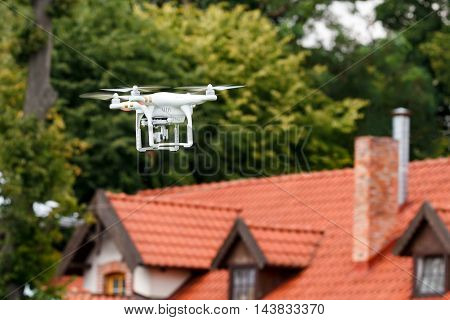 Hamburg Germany-July 29 2016:Flying drone quadcopter Dji Phantom 2 with digital camera
