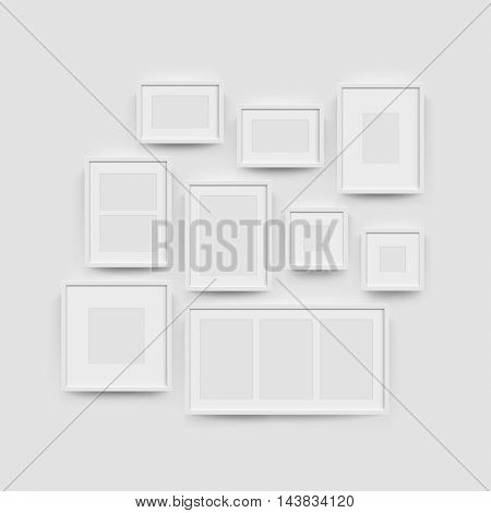 White blank photo frame wall gallery set. Vector picture frame mockup template on wall background