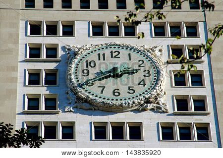 New York City - October 30 2005: Clockface on the west front of the 1909 Metropolitan Life Tower at Madison Square Park andEast 23rd Street