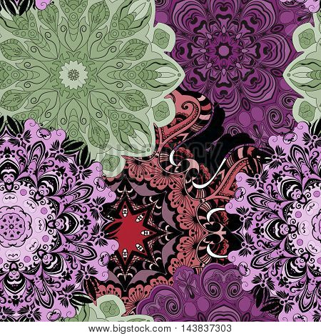 Vector seamless pattern with flowery mandalas print made in oriental style. Wrapper, textile, background or front-side