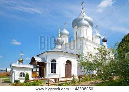 "Ancient Cathedral of Nikita great Martyr and Church ""Pillar"" in Nikitsky monastery, sunny day in july. Pereslavl-Zalessky. The Golden ring of Russia poster"