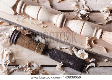 Carpentry concept . Joiner carpenter workplace top view. Construction tools on wooden table with sawdust. Copy space.
