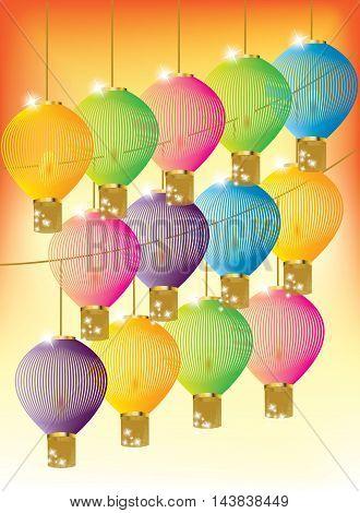 Colorful bright lanterns on bright orange background