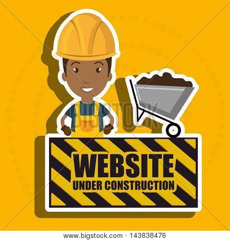 man website under construction avatar vector illustration design
